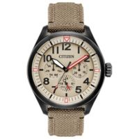 Citizen Eco-Drive 42mm Chandler Chronograph Watch in Black Stainless Steel w/Tan Cordura® Strap