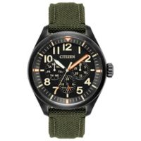 Citizen Eco-Drive Chandler Chronograph Watch in Black Stainless Steel w/Green Cordura® Strap