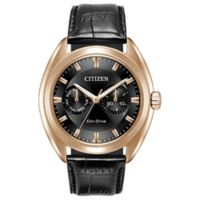 Citizen Eco-Drive Men's 44mm Paradex Dress Watch in Rose Goldtone Stainless Steel w/Leather Strap