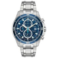 Citizen Eco-Drive Ti+IP Men's 43mm Chronograph Bracelet Watch in Ion-Plated Titanium with Blue Dial