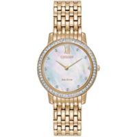 Citizen Eco-Drive Swarvoski® Silhouette Ladies' 30mm Watch in Rose Goldtone Stainless Steel