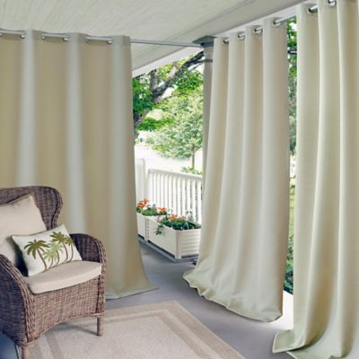 Elrene Connor 108 Inch Indoor/Outdoor Grommet Top Window Curtain Panel In  Taupe