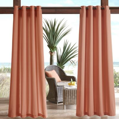 Madison Park Pacifica Solid 3M Scotchgard 95 Inch Grommet Top Outdoor Curtain Panel In Coral