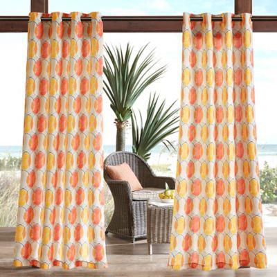 Madison Park Gaviota Circles 3M Scotchgard 84 Inch Grommet Top Outdoor Curtain  Panel In Orange
