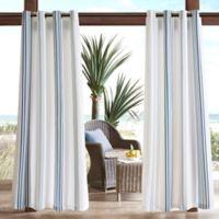 Madison Park Newport Printed Stripe 3M Scotchgard 95-Inch Grommet Top Outdoor Curtain Panel in Navy