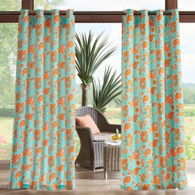 madison park carillo printed floral 3m scotchgard 84inch grommet top outdoor curtain panel in