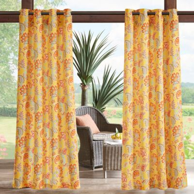 Madison Park Carillo Floral 3M Scotchgard 95 Inch Grommet Top Outdoor Curtain Panel In Yellow