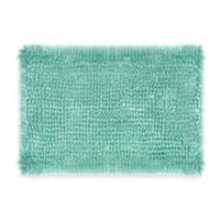Laura Ashley Butter Chenille 17-Inch x 24-Inch Bath Rug in Aqua