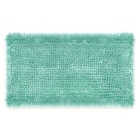 Laura Ashley Butter Chenille 20-Inch x 34-Inch Bath Rug in Aqua
