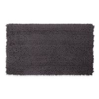 Laura Ashley Astor Striped 20-Inch x 34-Inch Bath Rug in Dark Grey