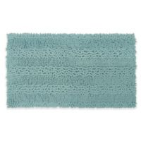 Laura Ashley Astor Striped 20-Inch x 34-Inch Bath Rug in Aqua