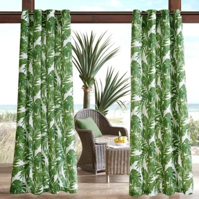 Madison Park Everett Printed Palm 3m Scotchgard 95 Inch Grommet Top Outdoor Curtain Panel In