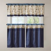Madison Park Serene 24-Inch Embroidered Kitchen Window Tier Pair