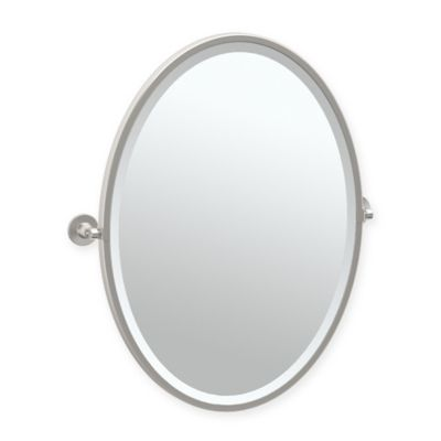 Gatco® Max 27.5 Inch Framed Oval Mirror In Satin Nickel