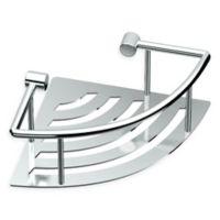 Gatco® Elegant Stainless Steel 8.4-Inch Corner Shower Shelf with Rail in Chrome