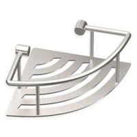 Gatco® Elegant Stainless Steel 8.4-Inch Corner Shower Shelf with Rail in Brushed Nickel