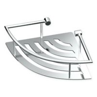 Gatco® Elegant Stainless Steel 11-Inch Corner Shower Shelf with Rail in Chrome