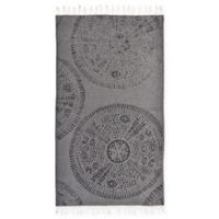 Linum Home Textiles Anatolian Pestemal Beach Towel in Black
