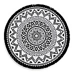 Linum Home Textiles Kilim Pestemal Beach Towel in Black/White