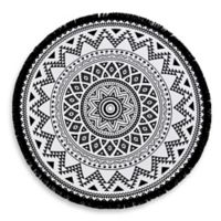 Linum Home Textiles Kilim Pestemal Beach Towel in Black/White