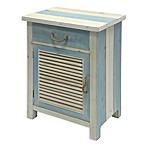Shutter Cabinet Side Table in Blue/White