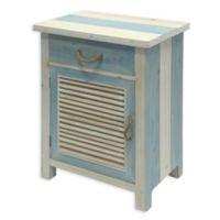 Shutter Cabinet Side Table in Blue/White