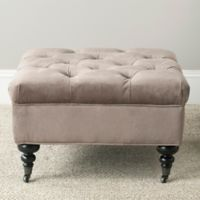 Safavieh Angeline Tufted Ottoman in Mushroom Taupe