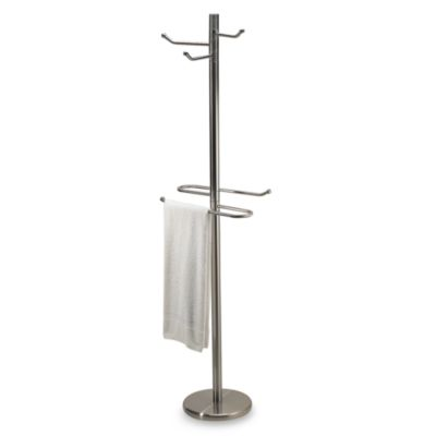 Swiveling Free Standing Towel and Bathrobe Valet in Satin Nickel. Buy Standing Valet from Bed Bath   Beyond