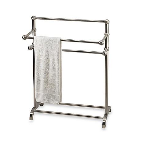 marvelous bathroom towel stand   3-Tier Free Standing Towel Stand in Satin Nickel - Bed ...