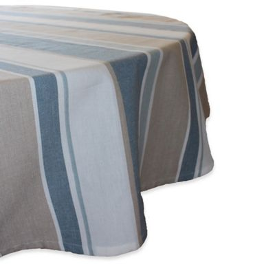 Superb Park B. Smith® Julian 70 Inch Round Stripe Tablecloth In Blue