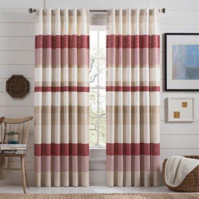 Lakeside Stripe 63 Inch Rod Pocket Window Curtain Panel In Red