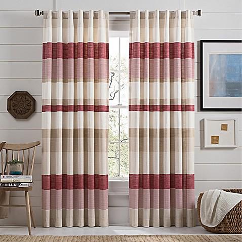 Lakeside Stripe Rod Pocket Window Curtain Panel In Red