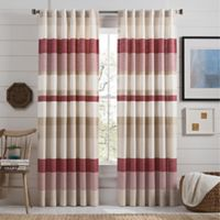 Lakeside Stripe 108-Inch Rod Pocket Window Curtain Panel in Red