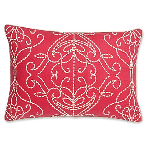 Pink Linen Throw Pillow : Harlequin Paradise 18-Inch Square Throw Pillow in Pink/Linen - Bed Bath & Beyond