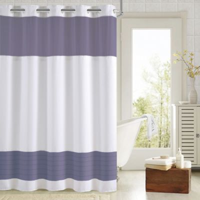 Hookless® Aruba Pleats Color Block Shower Curtain In White/Navy