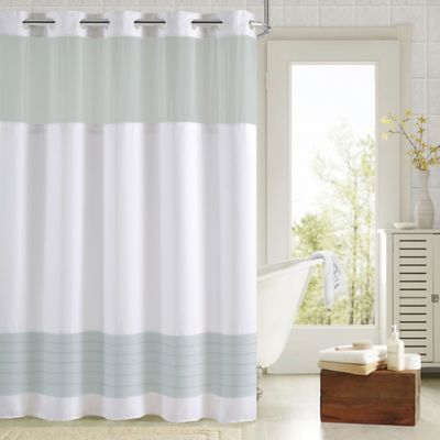 HooklessR Aruba Pleats Color Block Shower Curtain In White Aqua