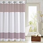 Hookless® Aruba Pleats Color Block Shower Curtain in White/ Lavender
