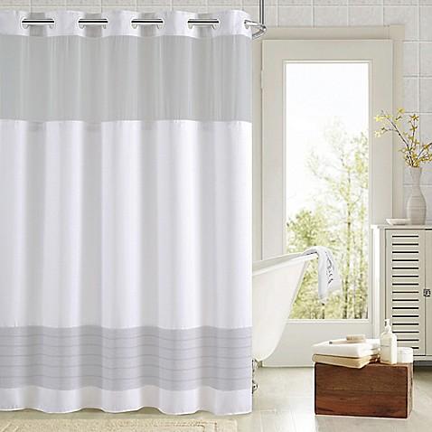 Hookless 174 Aruba Pleats Color Block Shower Curtain Bed