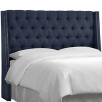 Skyline Furniture Zoe Tufted California King Headboard in Navy