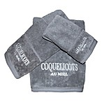 Vintage House Coquelicots Fingertip Towel in Grey