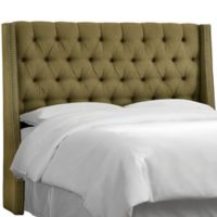 Skyline Furniture Zoe Tufted Full Headboard in Olive