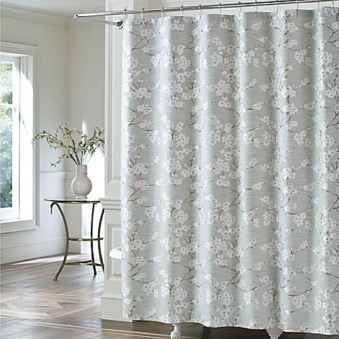 J Queen New York Mika Shower Curtain In Sea Foam Bed