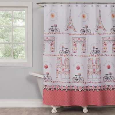 Saturday Knight Paris Blooms Shower Curtain In Pink