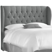 Skyline Furniture Sydney Tufted California King Headboard in Grey