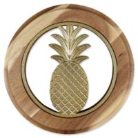 Thirstystone® Pineapple Acacia Wood Round Trivet in Gold