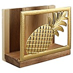 Thirstystone® Pineapple Acacia Wood Napkin Holder in Gold