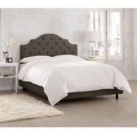 Skyline Furniture Kingsbury Tufted Linen California King Bed in Slate