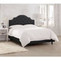 Skyline Furniture Kingsbury Tufted Linen Queen Bed in Black