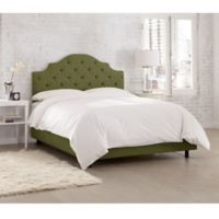Skyline Furniture Kingsbury Tufted Linen Twin Bed in Olive