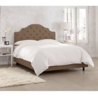 Skyline Furniture Kingsbury Tufted Linen Queen Bed in Taupe